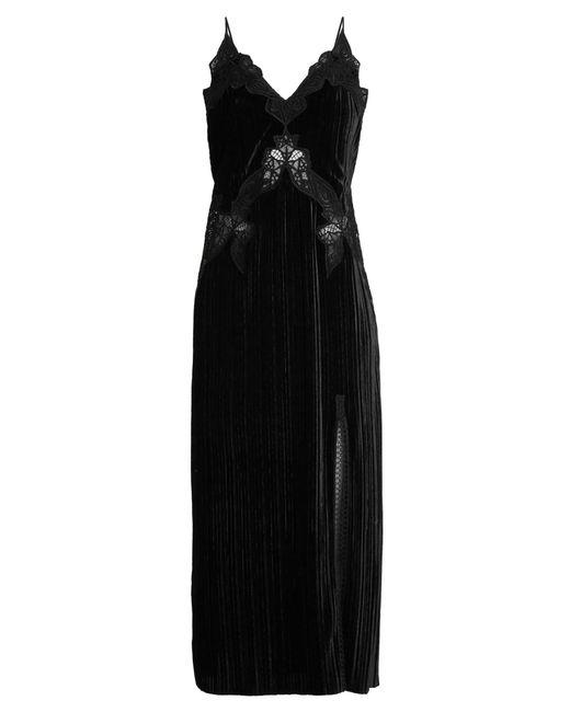 Jonathan Simkhai | Black V-neck Lace-trimmed Velvet Dress | Lyst