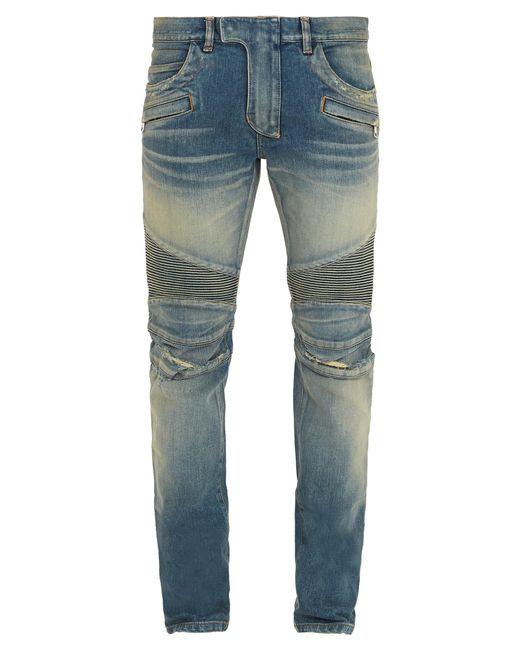 Balmain   Blue Slim Biker Jeans for Men   Lyst