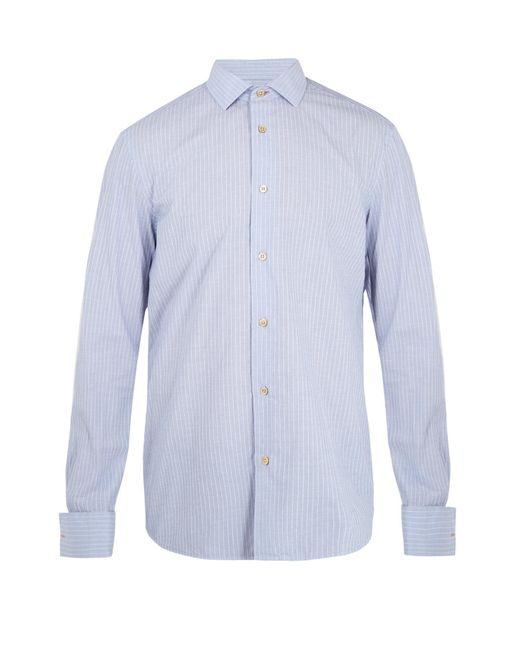 Paul Smith - Blue Double-cuff Striped Cotton Shirt for Men - Lyst