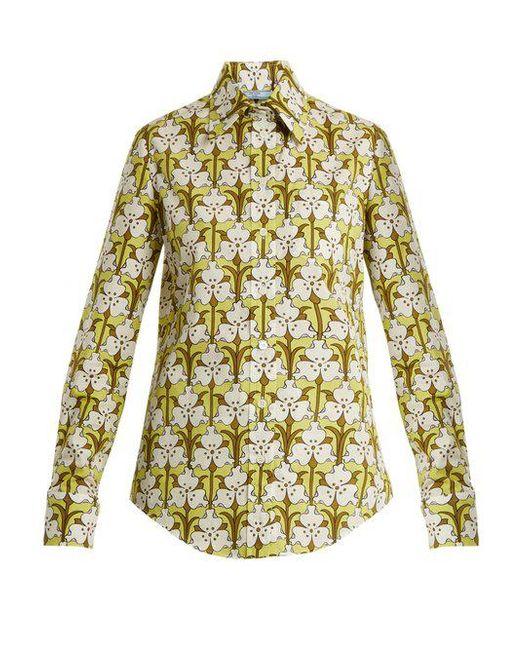 Discount Aaa Iris-print cotton-polin shirt Prada Cheapest Price Cheap Online Excellent Online Free Shipping Fake Enjoy MLKSU