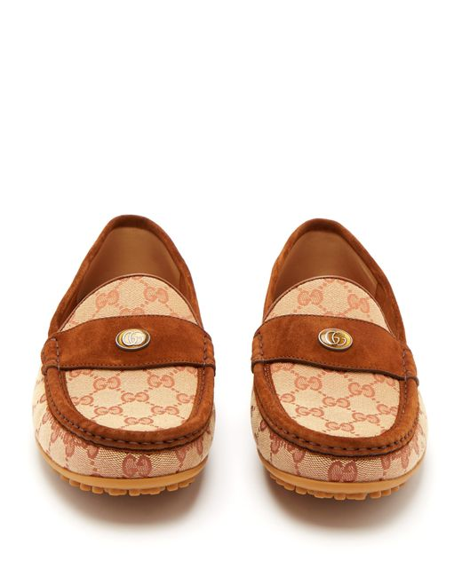 0ad8660a075 ... Gucci - Brown Canvas Kanye Driving Shoes for Men - Lyst ...