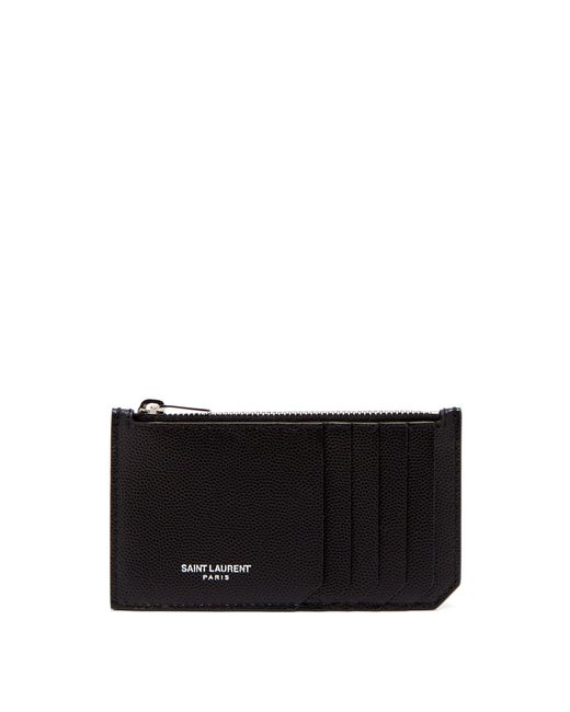 Saint Laurent - Black Grained Leather Cardholder for Men - Lyst