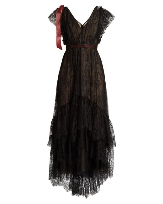 Erdem   Black Perry Embellished Floral-embroidered Tulle Gown   Lyst