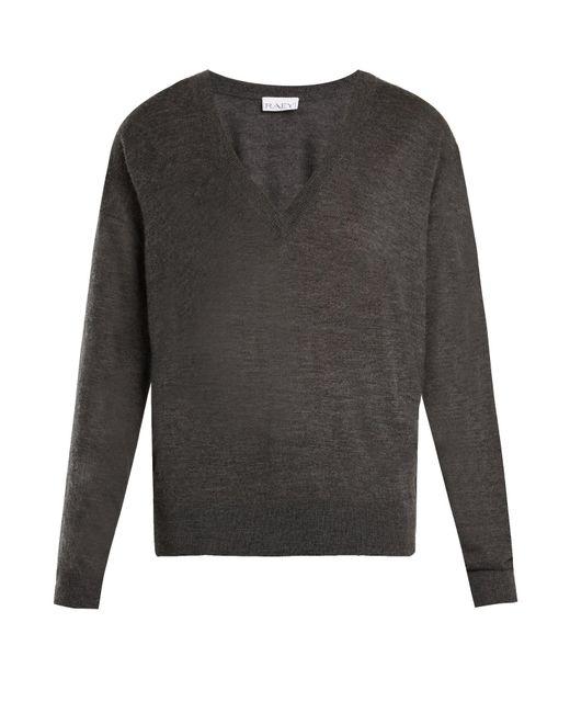 Raey - Gray V-neck Fine-knit Cashmere Sweater - Lyst