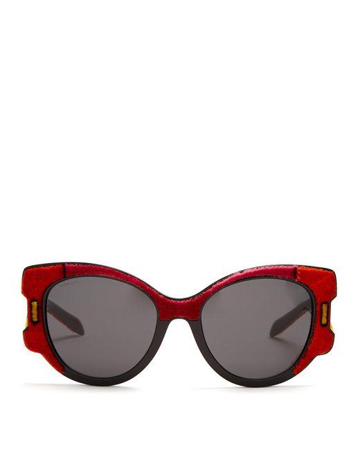 Prada - Velvet Covered Cat Eye Sunglasses - Lyst