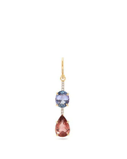 Irene Neuwirth Diamond, tourmaline & rose-gold single earring