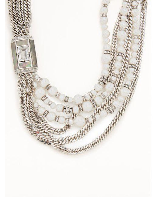 Lanvin Bow and faux-pearl embellished necklace bigRXidhQg