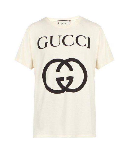 215240c5e Gucci - White Logo Print Cotton T Shirt for Men - Lyst ...