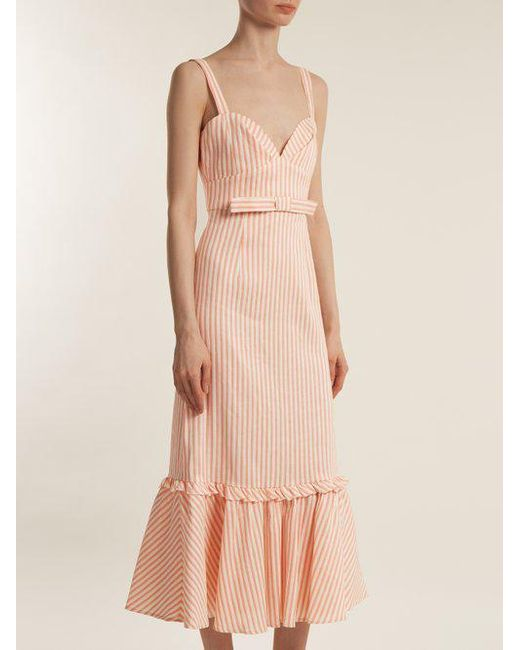 Bow-detail linen-blend striped dress Luisa Beccaria Official Outlet Where To Buy bUUEr6nZ