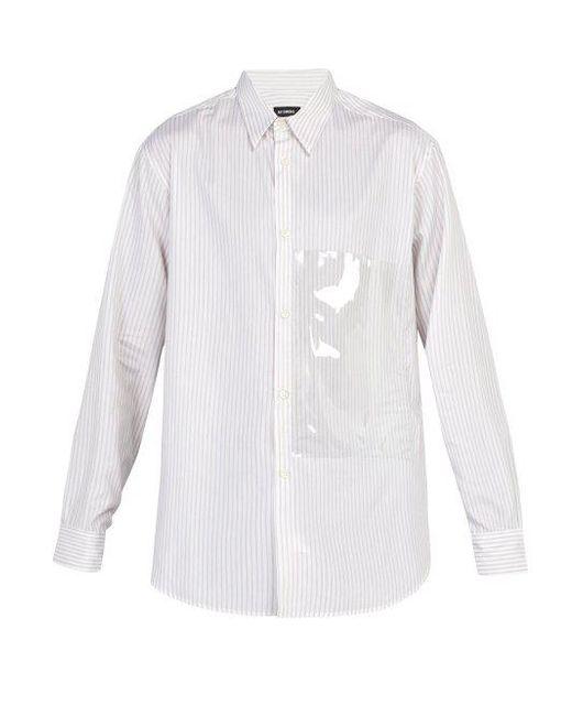 Raf Simons - White Pvc-panelled Striped Cotton Shirt for Men - Lyst