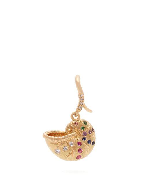 Aurelie Bidermann - Metallic Diamond, Multi Stone & 18kt Gold Single Earring - Lyst