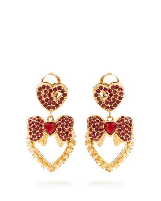 Dolce & Gabbana | Red Heart Drop Crystal-embellished Earrings | Lyst