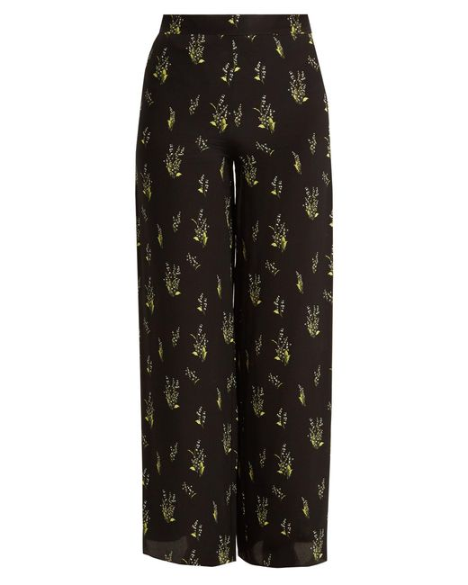 Rockins | Black Skully Of The Valley-print Wide-leg Silk Trousers | Lyst
