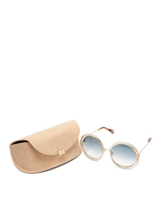 da8b2cce761 ... Chloé - Green Carlina Chain Frame Oversized Round Sunglasses - Lyst ...