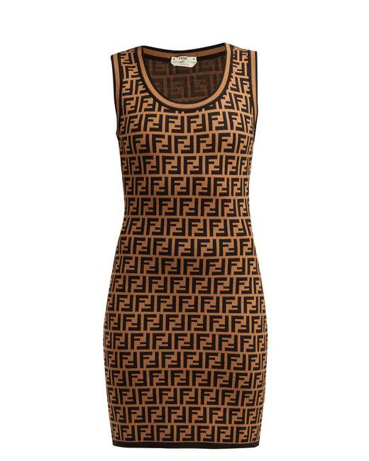 Fendi - Brown Ff Jacquard Knitted Mini Dress - Lyst