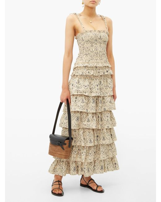 48cb141aca ... SIR - Natural Sachi Tiered Floral Print Maxi Dress - Lyst ...