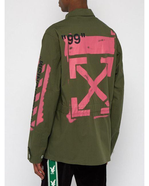 6750a4be03ce ... Off-White c o Virgil Abloh - Green Diagonal Arrow Print Military Field  Jacket ...