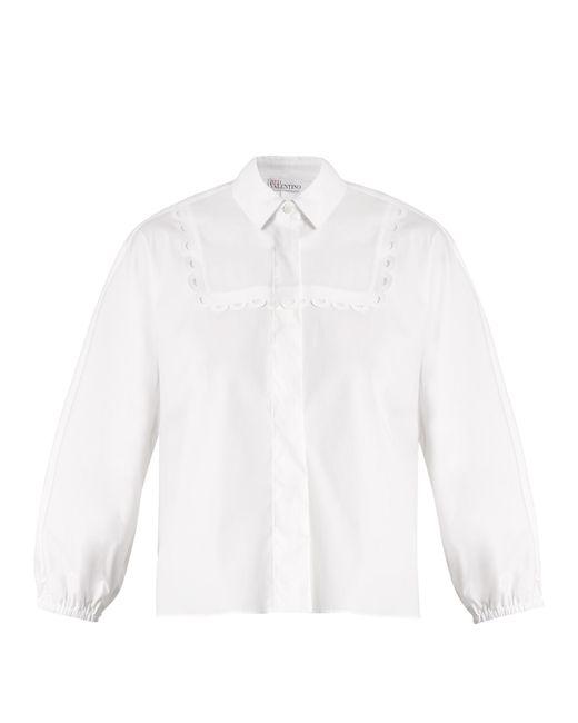 RED Valentino | White Bib-detail Stretch-cotton Shirt | Lyst