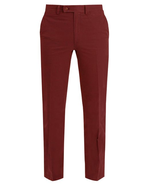 Brioni - Red Slim Fit Cotton Chino Trousers for Men - Lyst