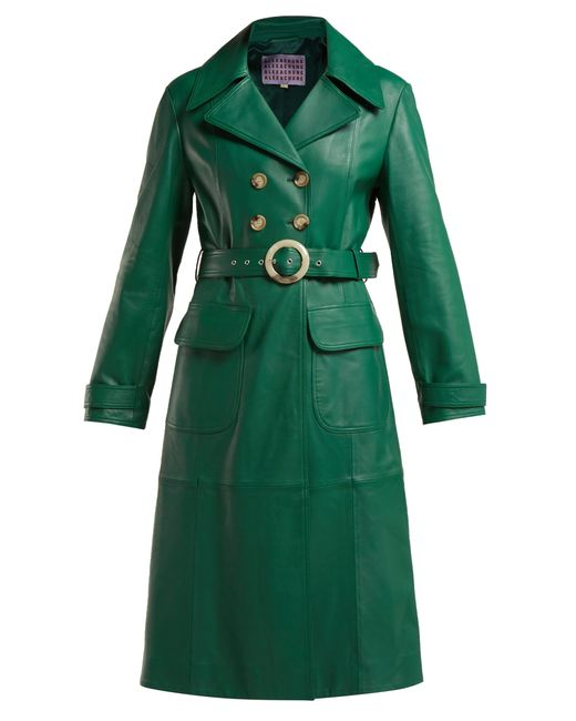AlexaChung - Green Double Breasted Belted Leather Trench Coat - Lyst