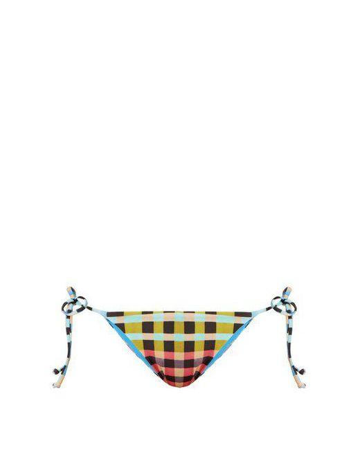 Mara Hoffman - Multicolor Plaid Mustard-print Tie-side Bikini Briefs - Lyst