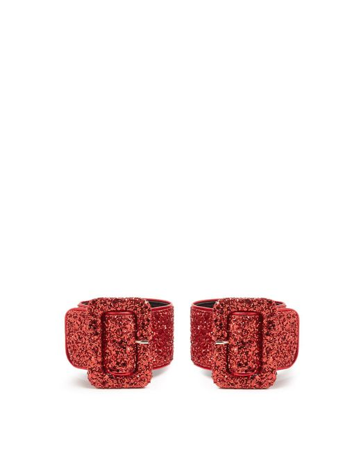 Attico | Red Glitter-embellished Ankle Straps | Lyst