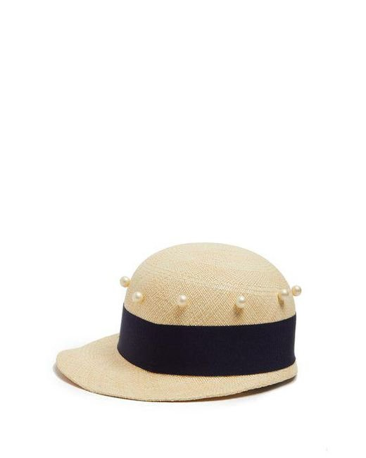 Federica Moretti - Blue Joe Faux-pearl Embellished Cap - Lyst