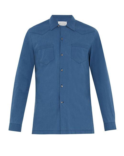Maison Margiela | Blue Half-zip Panel Point-collar Cotton Shirt for Men | Lyst