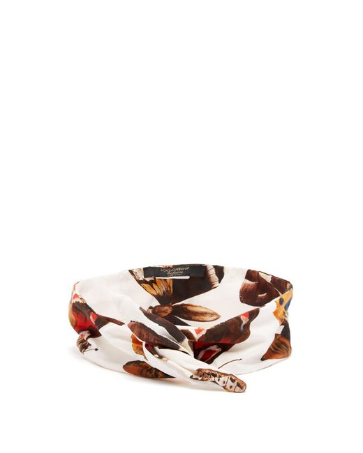Dolce & Gabbana - White Butterfly Print Cotton Headband - Lyst