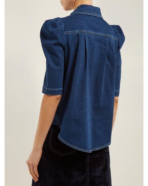 51c93028a9f0 ... See By Chloé - Blue Puffed Sleeve Denim Shirt - Lyst ...