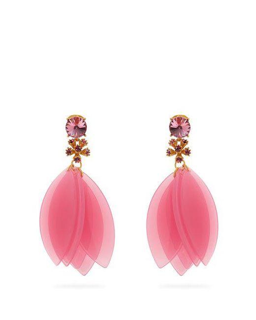 Oscar de la Renta - Pink Crystal-embellished Petal Clip-on Earrings - Lyst