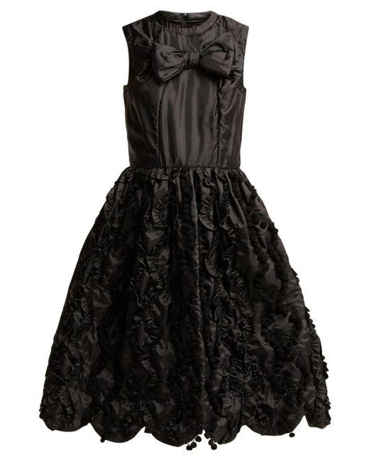 Comme des Garçons - Black Bow Trim Ruffled Satin Dress - Lyst