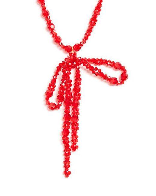Bow-embellished pendant beaded necklace Simone Rocha GeDGPcrg