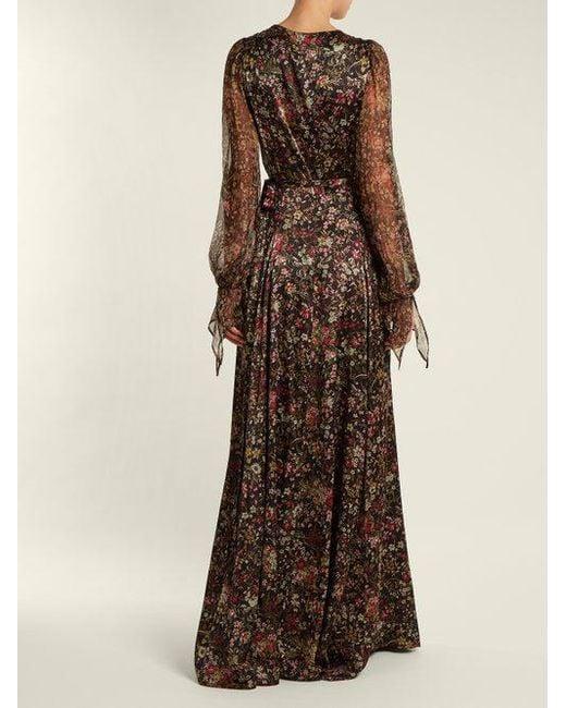 Floral-print sheer-sleeved silk-blend wrap gown Luisa Beccaria CrvCc4c8q