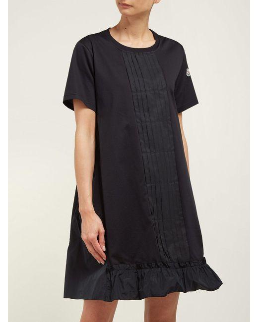 a04d2a3f8f61 ... Moncler - Black Abito Round Neck Cotton Jersey Dress - Lyst ...