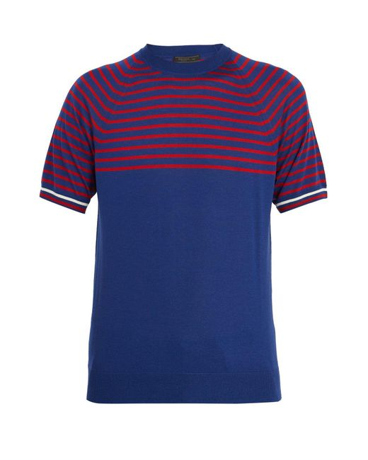 Prada | Blue Striped Cashmere And Wool T-shirt for Men | Lyst