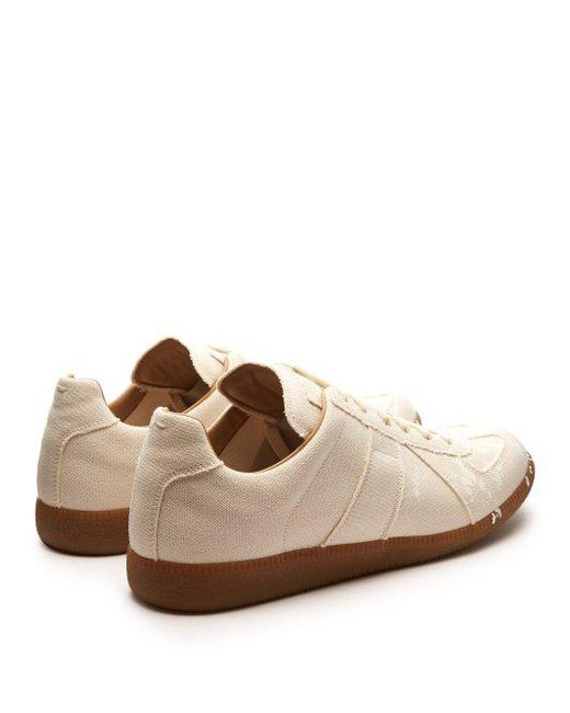 Replica paint-effect leather and canvas trainers Maison Martin Margiela wBrFWWvk