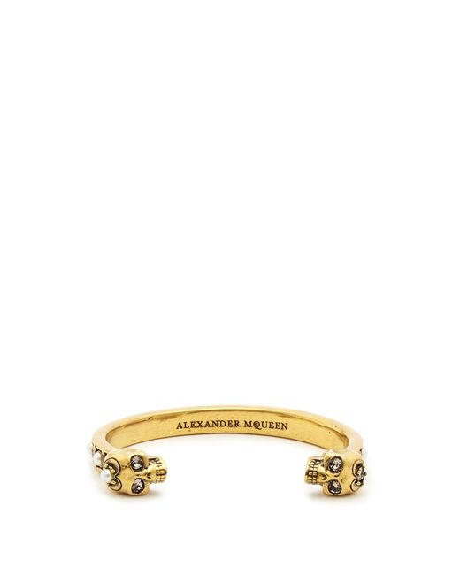 Alexander McQueen | Multicolor Embellished-skull Open Cuff | Lyst