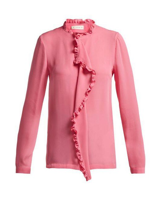 e9d0164b6dbae Etro - Pink Jeanette Ruffled Silk Blouse - Lyst ...
