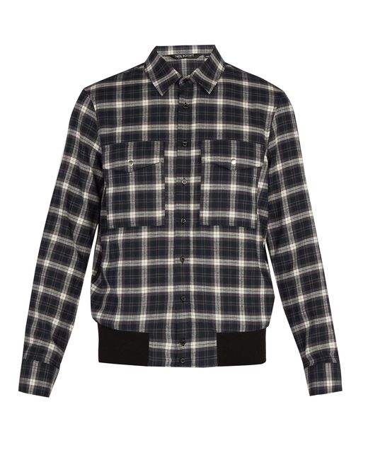 Neil Barrett - Gray Checked Cotton Shirt for Men - Lyst