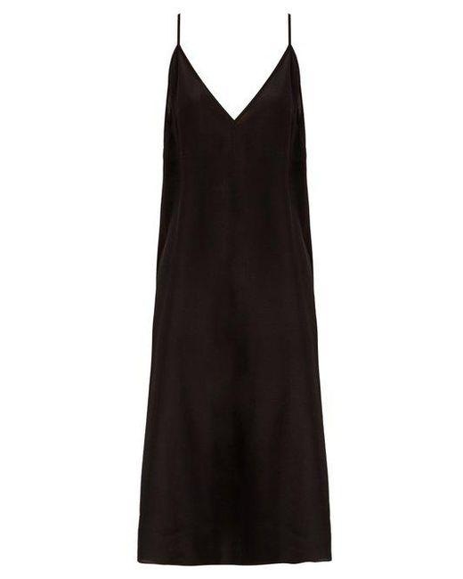 Raey - Black Fitted Deep V-neck Silk Slip Dress - Lyst