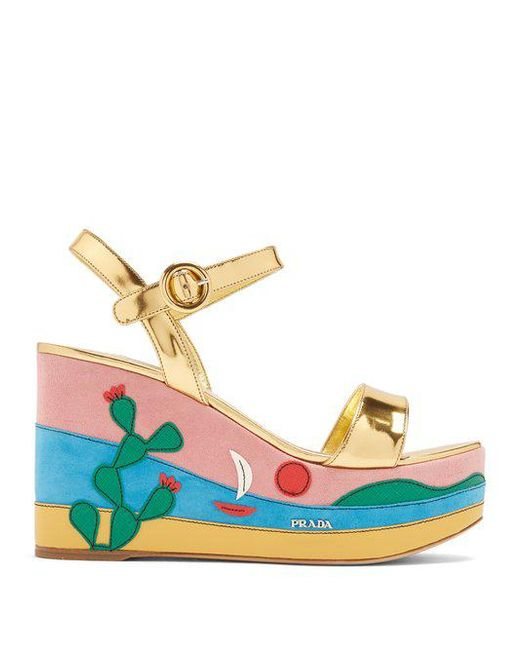 Prada Cactus appliqué suede and leather wedge sandals Inexpensive Online Xo3WPvllo