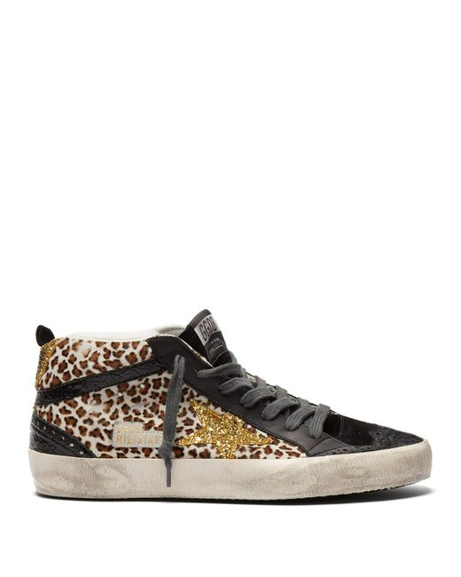 dd8cbae81668 Golden Goose Deluxe Brand - Black Mid Star Mid Top Leather And Calf Hair  Trainers ...