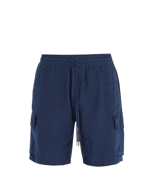 Vilebrequin - Blue Baie Drawstring Linen Shorts for Men - Lyst