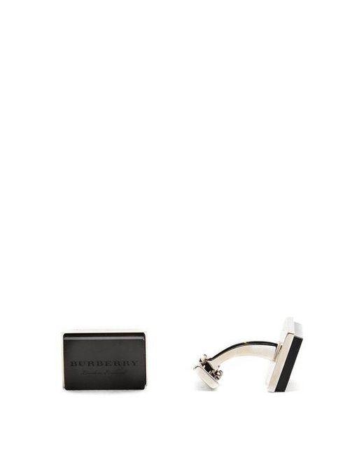 Burberry - Black Engraved-enamel Cufflinks for Men - Lyst