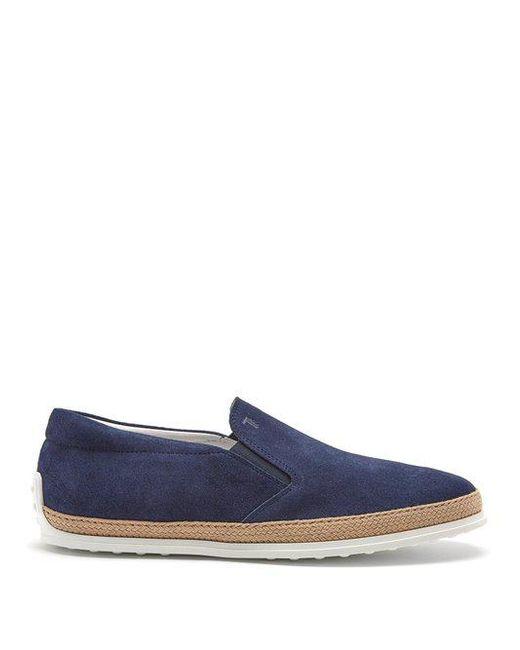 Tod's - Blue Pantofola Suede Slip-on Espadrilles for Men - Lyst