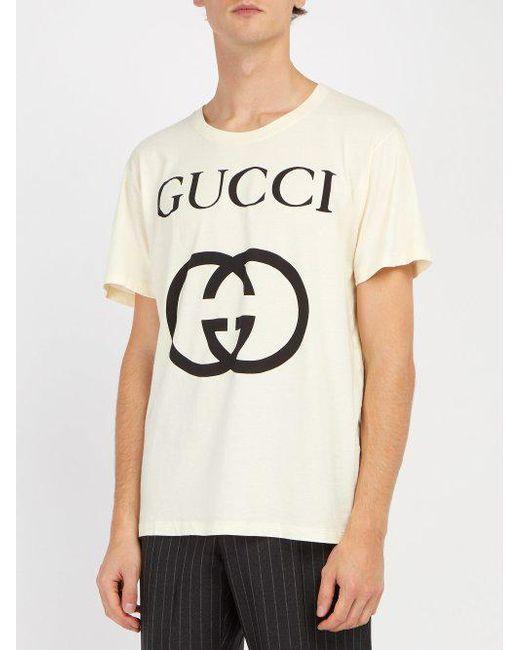 1d2fadb77 ... Gucci - White Logo Print Cotton T Shirt for Men - Lyst ...