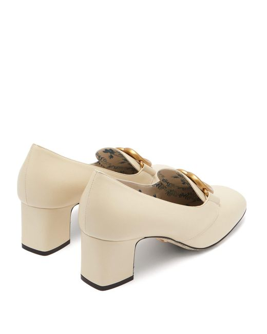 fdafbffe544 ... Gucci - White Gg Marmont Leather Block Heel Loafers - Lyst ...