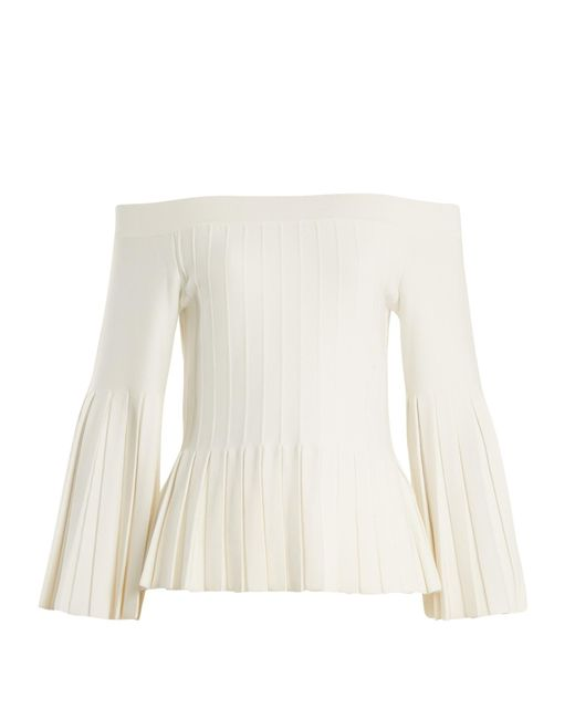Jonathan Simkhai | White Off-the-shoulder Pleated Knit Top | Lyst