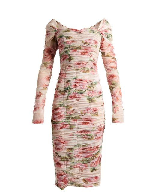 Dolce & Gabbana - Pink Floral Tulle Long Sleeve Midi Dress - Lyst